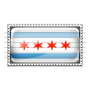 Chicago, Illinois Flag Stamp Icon